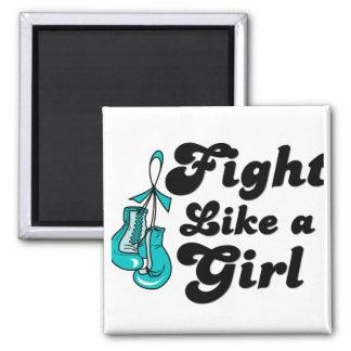 Lucha del cáncer ovárico como un lema del chica imán cuadrado