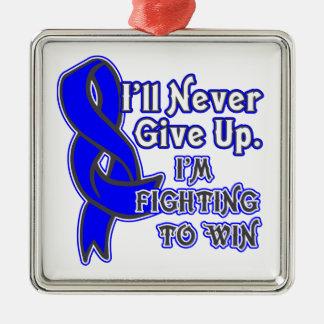 Lucha del cáncer rectal a ganar adorno navideño cuadrado de metal