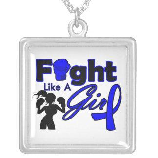 Lucha del cáncer rectal como una silueta del chica collares personalizados