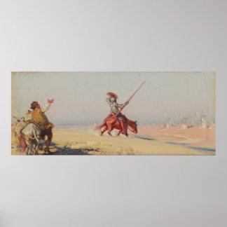 Lucha del Don Quijote de los molinoes de viento Poster
