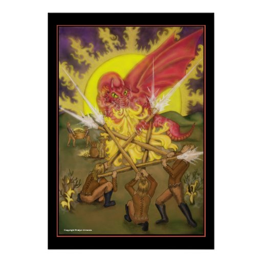 Lucha del dragón - cinco de las varas Tarot Poster