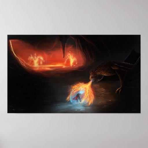 Lucha del dragón de Badass en una cueva Poster