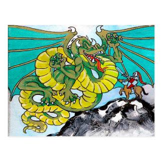 lucha del dragón y del caballero postales