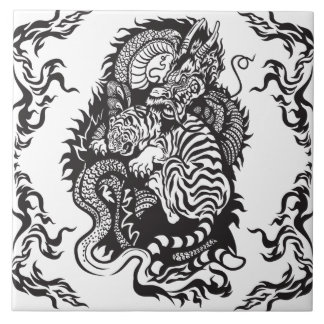 lucha del dragón y del tigre azulejo cuadrado grande