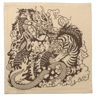 lucha del dragón y del tigre servilletas imprimidas
