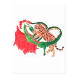 Lucha del dragón y del tigre tarjetas postales