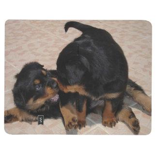 Lucha del juego de los perritos de Rottweiler