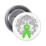 Lucha del linfoma como un chica Fleurish Pin