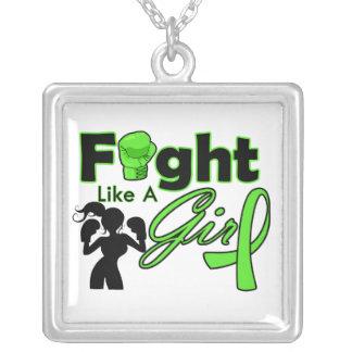 Lucha del linfoma como una silueta del chica collares personalizados