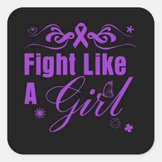 Lucha del lupus como un chica adornado calcomanías cuadradass