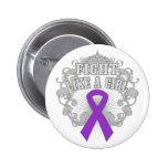 Lucha del lupus como un chica Fleurish Pin
