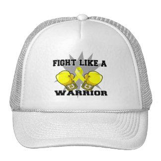 Lucha del osteosarcoma como un guerrero gorros