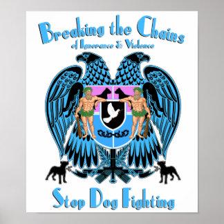 Lucha del perro de parada, perro americano de Terr Póster