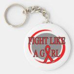 Lucha del SIDA como una circular del chica Llaveros Personalizados