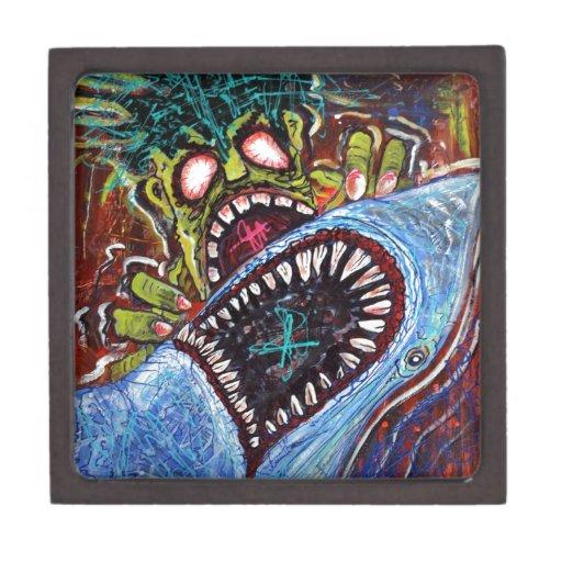 Lucha del tiburón del zombi caja de recuerdo de calidad