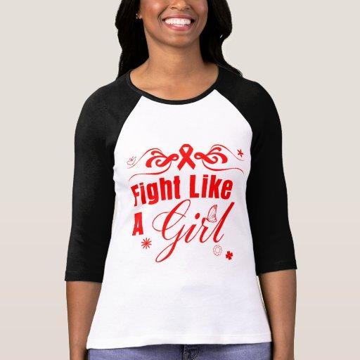 Lucha del VIH del SIDA como un chica adornado Camiseta