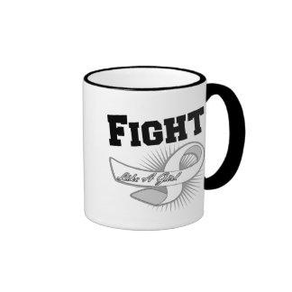 Lucha deportiva del cáncer de hueso como un chica taza de café