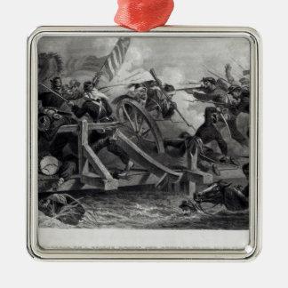 Lucha en un puente durante el retratamiento adorno navideño cuadrado de metal