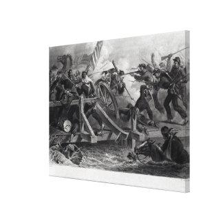 Lucha en un puente durante el retratamiento impresiones de lienzo
