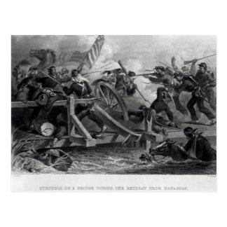 Lucha en un puente durante el retratamiento tarjetas postales