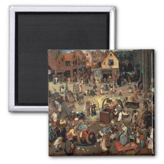 Lucha entre el carnaval y prestada, 1559 imán cuadrado