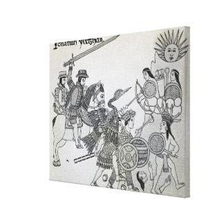 Lucha entre el español y los Aztecas Impresión En Lienzo Estirada