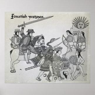 Lucha entre el español y los Aztecas Posters