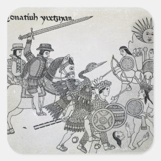Lucha entre el español y los Aztecas Pegatina Cuadrada