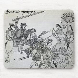 Lucha entre el español y los Aztecas Mousepads