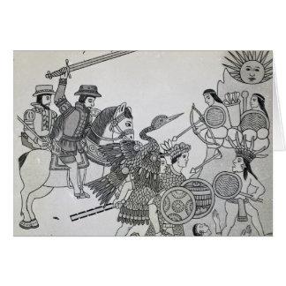 Lucha entre el español y los Aztecas Tarjeta De Felicitación