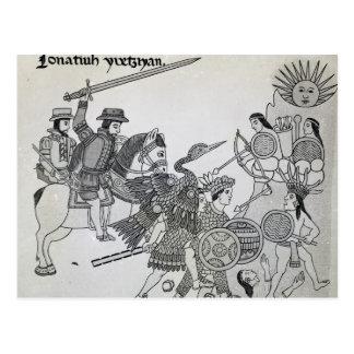 Lucha entre el español y los Aztecas Postal