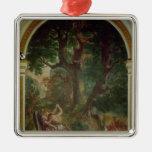 Lucha entre Jacob y el ángel, 1850-61 Adorno Navideño Cuadrado De Metal