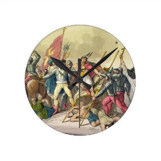 Lucha entre los indios y los Conquistadors locales Reloj De Pared