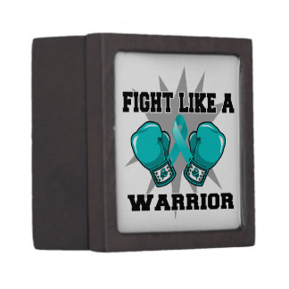 Lucha ginecológica del cáncer como un guerrero caja de joyas de calidad