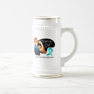 Lucha ginecológica del cáncer como un remachador d tazas de café