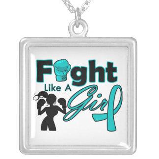 Lucha ginecológica del cáncer como una silueta del joyerias personalizadas