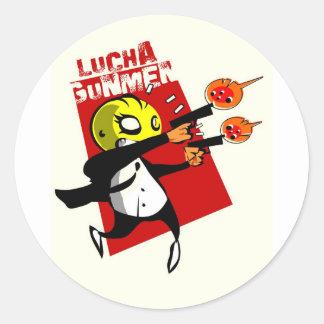 Lucha Gunmen Round Sticker