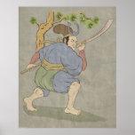 Lucha japonesa de la espada del katana del guerrer posters