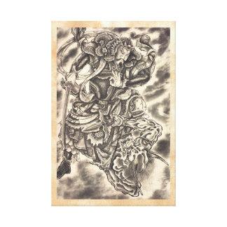 Lucha japonesa del samurai del demonio del vintage lienzo envuelto para galerias