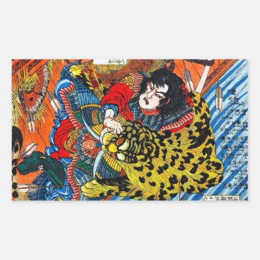 Lucha legendaria japonesa fresca del tigre del pegatina rectangular