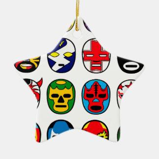 Lucha Libre Luchador Mexican Wrestling Masks Ceramic Ornament