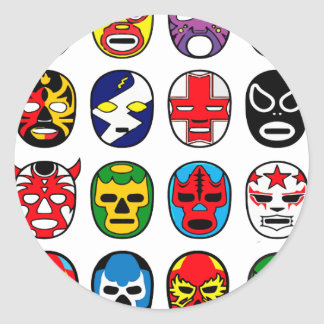Lucha Libre Luchador Mexican Wrestling Masks Classic Round Sticker
