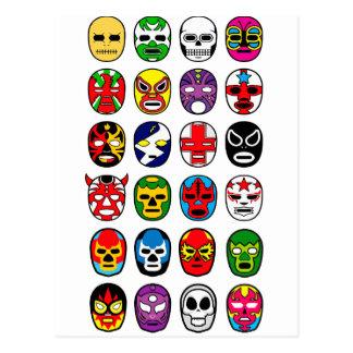 Lucha Libre Luchador Mexican Wrestling Masks Postcard