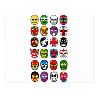 Lucha Libre Luchador Mexican Wrestling Masks Post Card