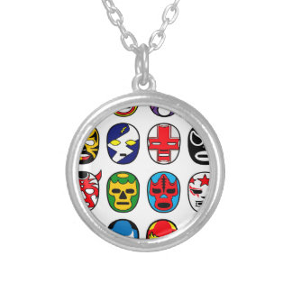 Lucha Libre Luchador Mexican Wrestling Masks Silver Plated Necklace