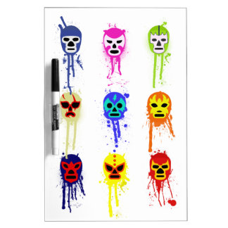 Lucha Libre Mask Mexican Wrestling Paint Drip Dry Erase Boards