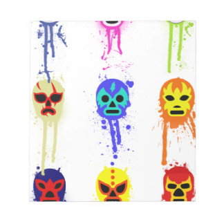 Lucha Libre Mask Mexican Wrestling Paint Drip Notepad