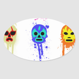 Lucha Libre Mask Mexican Wrestling Paint Drip Oval Sticker