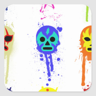 Lucha Libre Mask Mexican Wrestling Paint Drip Square Sticker