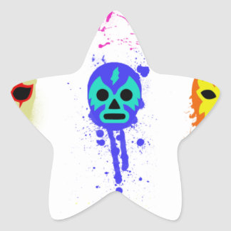 Lucha Libre Mask Mexican Wrestling Paint Drip Star Sticker